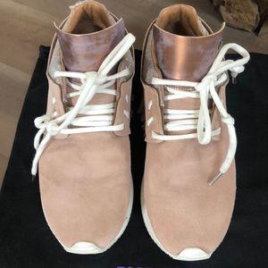 Esseutesse Leather Fringe Sneaker; Italian made